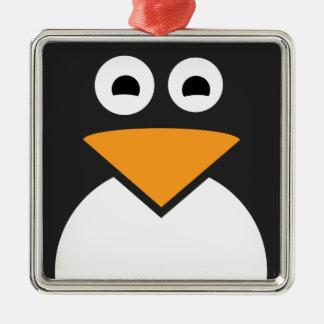 Pinguin-Gesicht Quadratisches Silberfarbenes Ornament