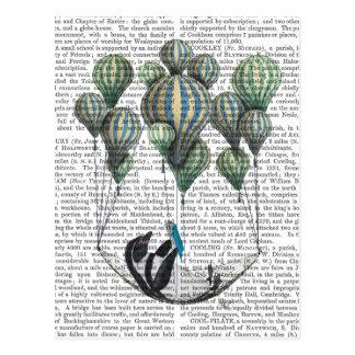 Pinguin im Hängematten-Ballon Postkarte