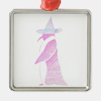 Pinguin im Hut einer Hexe Quadratisches Silberfarbenes Ornament