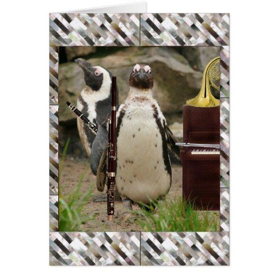 Pinguin-Konzert, Winde und Klavier Grußkarte