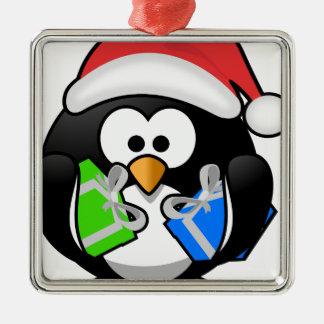 Pinguin mit Geschenken Quadratisches Silberfarbenes Ornament