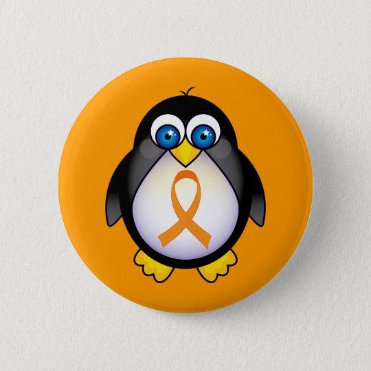 Pinguin-orange Band des Bewusstseins-Geschenks Runder Button 5,7 Cm