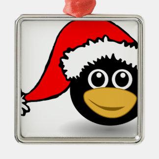 Pinguin Quadratisches Silberfarbenes Ornament