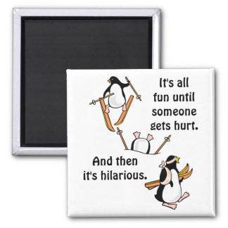 Pinguin-Ski-Abenteuer Quadratischer Magnet