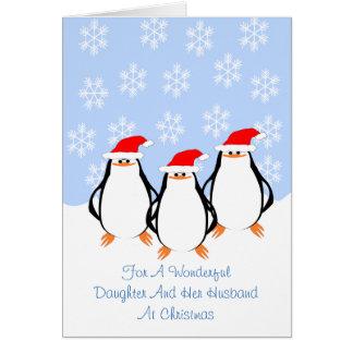Pinguin-Tochter-Ehemann-Weihnachten Karte