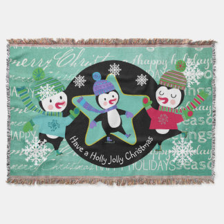 Pinguin-Typografie-frohe Weihnacht-Feiertags-Wurf Decke