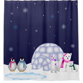 Pinguin-und Eisbär-Weihnachtsduschvorhang Duschvorhang