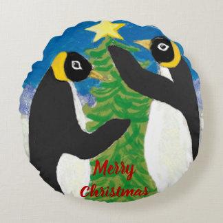 """Pinguin-Weihnachts-Polyester-rundes Kissen (16"""")"""