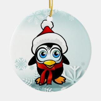 Pinguin Weihnachtsmann Keramik Ornament