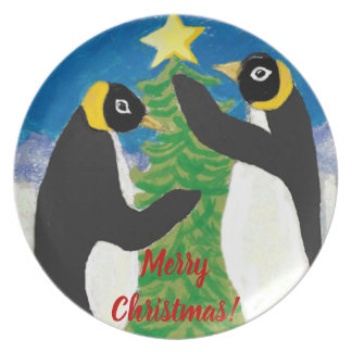 Pinguin-Weihnachtsmelamin-Platte Essteller