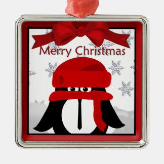 Pinguin-Weihnachtsprämien-Verzierung Quadratisches Silberfarbenes Ornament