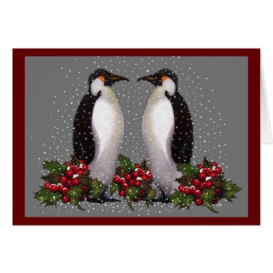 Pinguine im Schnee: Paar-Weihnachten: Stechpalme: Grußkarte