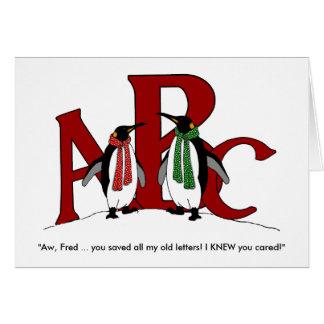 Pinguine: Paar-Spaß: Gerettete Buchstaben sendete Karte