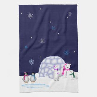 Pinguine und Eisbär-Tuch Geschirrtuch