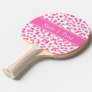Pink 2 Sterne weißes BG, Pink-Namensmonogramm Tischtennis Schläger