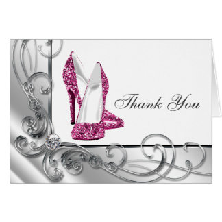 Pink-Absatz-Schuh danken Ihnen Karten