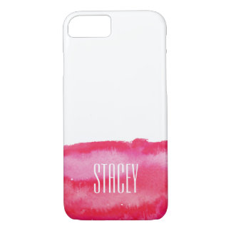 Pink-Aquarell-Monogramm iPhone 8/7 Hülle