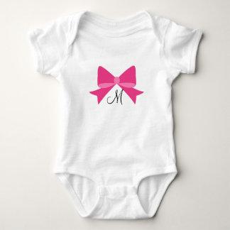 Pink-Bogen-Monogramm-Baby-Bodysuit Baby Strampler