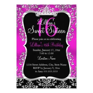 Pink des Bonbon-16 schwärzt Damast-Tiara-Einladung 12,7 X 17,8 Cm Einladungskarte