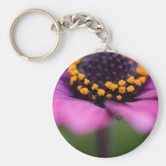 Pink flower black and yellow heart porte-clef
