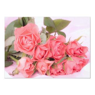 pink flowers carton d'invitation  12,7 cm x 17,78 cm