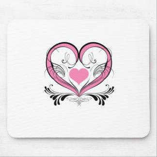 Pink Heart with ornaments Tapis De Souris