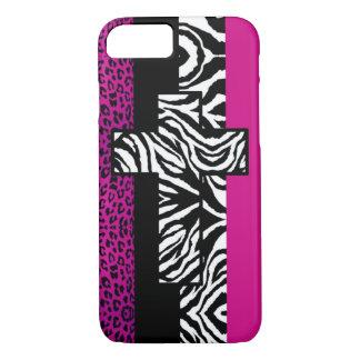 Pink-Leopard und Zebra-Tier mit Kreuz iPhone 8/7 Hülle