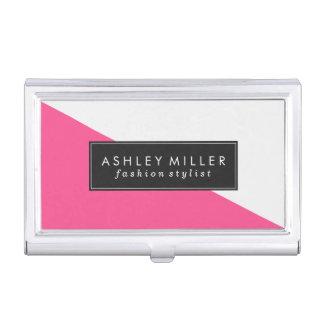 Pink-moderner Farbblock Visitenkarten-Dose