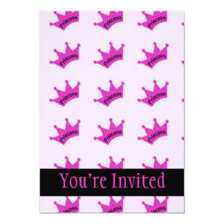 Pink-Prinzessin Crown 12,7 X 17,8 Cm Einladungskarte
