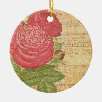 Pink roses and music rundes keramik ornament