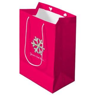 Pink-Schneeflocke-Rosa-Weihnachten Mittlere Geschenktüte
