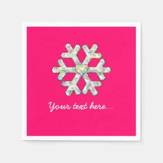 Pink-Schneeflocke-Rosa-Weihnachten Papierservietten