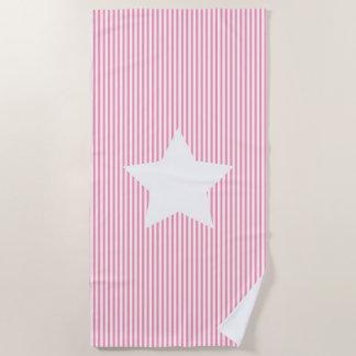 Pink-Streifen u. Weiß-Stern-Badetuch Strandtuch