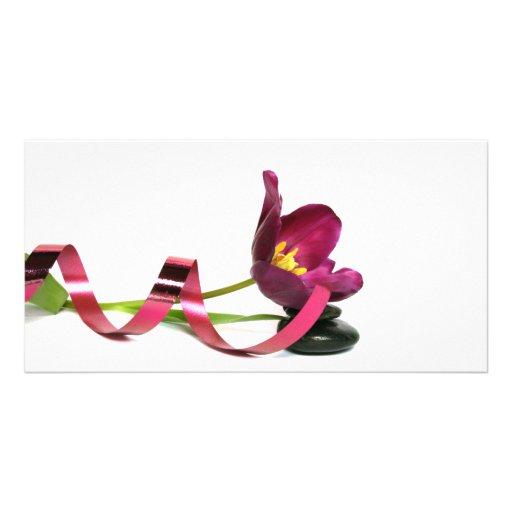 pink tulip carte avec photo