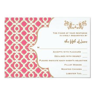 Pink-und Goldmarokkanische Hochzeits-Wartekarten 8,9 X 12,7 Cm Einladungskarte