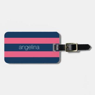 Pink und Marine-moderne Rugby-Streifen mit Namen Kofferanhänger