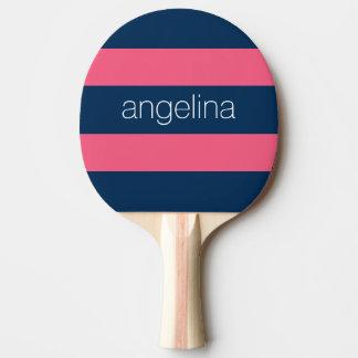 Pink und Marine-moderne Rugby-Streifen mit Namen Tischtennis Schläger