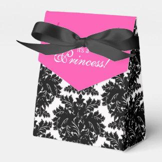 Pink-und Schwarz-Damast-Babyparty Geschenkschachteln