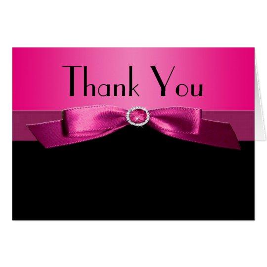 Pink und Schwarzes danken Ihnen Anmerkungs-Karte Mitteilungskarte