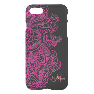 Pink und Schwarzes schnüren sich Monogramm iPhone iPhone 7 Hülle