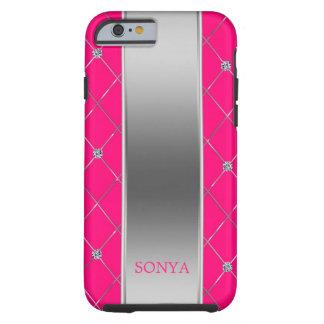 Pink und Silber-geometrische Formen Tough iPhone 6 Hülle