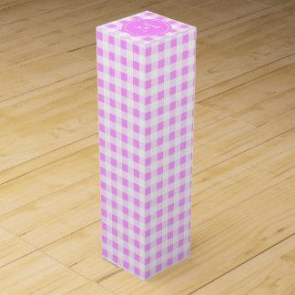 Pink-und Weiß-Gingham, Ihr Monogramm Wein-Geschenkverpackung