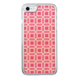 Pink-und Weiß-Mosaik-Muster Carved iPhone 8/7 Hülle