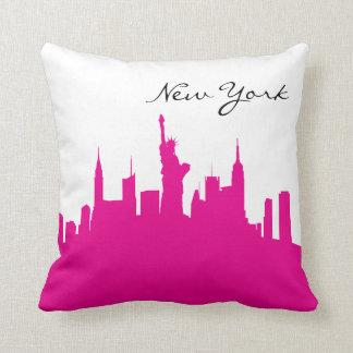 Pink-und Weiß-New- YorkSkyline Kissen