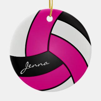 Pink, Weiß u. Schwarzes personifizieren Volleyball Rundes Keramik Ornament