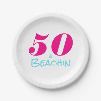 PinkAquamarine 50 u. Beachin Pappteller