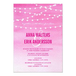 Pinkfarbene Aquarell-Schnur-Lichter Karte