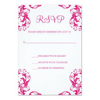 Pinkfarbene Damast-Art Hochzeit UAWG Karten-  8,9 X 12,7 Cm Einladungskarte