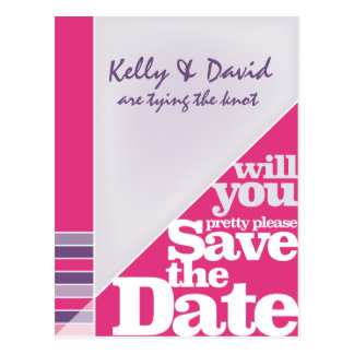Pinkfarbene kreative Funky Save the Date Postkarte