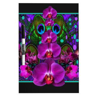 Pinkfarbene lila Orchideen-Grün-schwarze Trockenlöschtafel